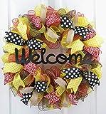 Welcome Wreath - Summer Wreath - Spring Mesh Front Door Decor - Black Jute Red Yellow Burlap P8