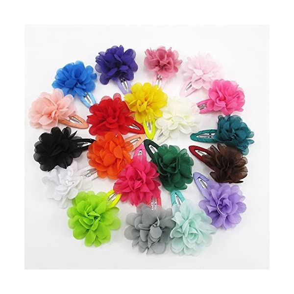 Chiffon Flowers Clips 20 Colors Mixed Hair Bows Clips for Baby Girls Teens Girls Babies Toddler