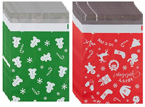 Poly Mailers 10x13-100-Piece Christmas Mailers - Gingerbread Man and Happy Holiday Printed Design - Self-Sealing Shipping Envelopes Bags for Gifts and Presents, Waterproof and Tear-Proof Postal Bags