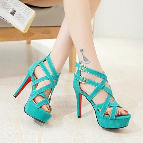 Xing Lin Summer Shoes For Women Wedges Summer New Sandals Cross Buckle Open Toe Stilettos Thick Bottled Girls Sandals Tide green