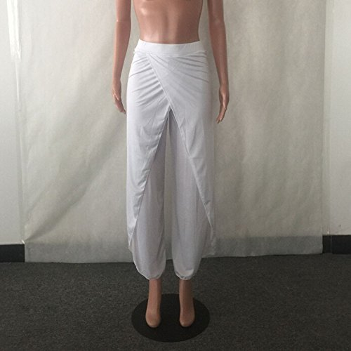 SKY Comfortable to wear it !!! Sra pantalones de yoga pantalones de pierna ancha Loose Pants Wide Leg Culottes Stretch Trouser Clothing Blanco