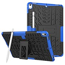 iPad Pro 10.5 Case, MCUK Heavy Duty Rugged Dual Layer - Soft/Hard Shell 2 in 1 Tough Protective Cover Case with Kickstand for Apple iPad Pro 10.5 Inch 2017 Released Tablet (Blue)