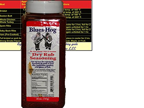 Blues-Hog-Barbeque-BBQ-Dry-Rub-Seasoning-Large-26-oz-16-LB-Bottle-with-Complimentary-Miniature-Meat-Smoking-Guide-Magnet-Bundle