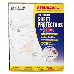 C-Line Top Loading Standard Weight Poly Sheet Protectors, Clear, 8.5 x 11 Inches, 100 per Box (62027)