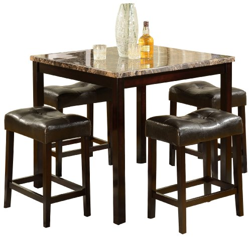Crown Mark Kinsey 5-Piece Counter Height Table/Stool (Nook Stools Breakfast)