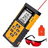Morpilot Laser Measure 131 Ft with Target Plate & Enhancing Glasses, Laser Measuring Device with Pythagorean Mode, Measure Distance, Area, Volume Calculation - Black & Orange