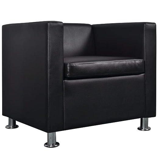 vidaXL Sillón Cuadrado Negro de Cuero Artificial sofá ...