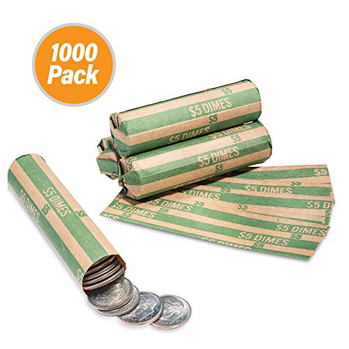 1000 Flat Coin Wrappers, Dimes Coin Holder, Convenient Dime Storage Coin Wrapper – 1000 Pack