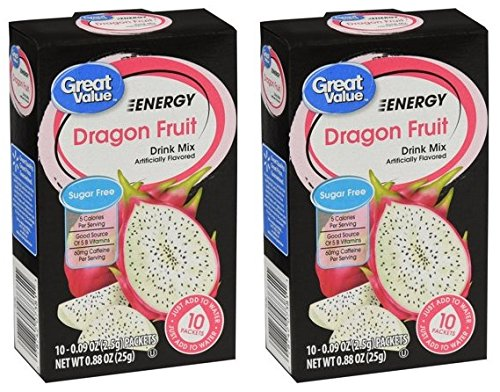 - Great Value Energy Drink Mix, Dragon Fruit, Sugar-Free, 0.88 oz (Pack of 2)