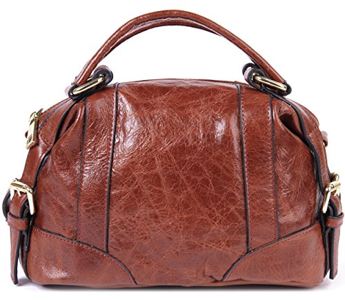 Borgasets Women's Leather Top Double Handle Handbags Doctor Shoulder Bag In Summer Small Bag (brown)