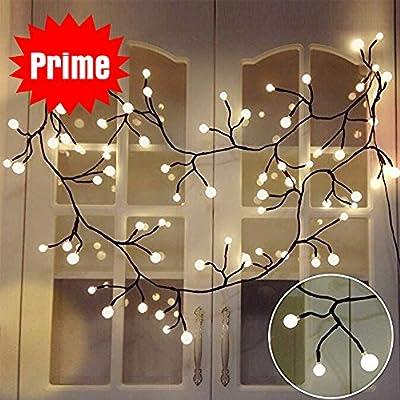 YMing 8.3Ft Vine-shaped Bedroom String Lights 72 Bulbs Starry Fairy Lights Perfect for Room,Dorm,Christmas,Window Curtain,Bookshelf, Backyard,Wedding,Birthday Party