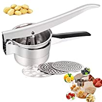 Potato Ricer,Haolide Professional Food Grade Stainless Steel Potato Masher with 3 Interchangeable Fineness Discs and Ergonomic Comfort Handle