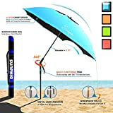 Sunphio Beach Umbrella Portable for Travel, 2 Metal Sand Anchor and 1 Large Carry Bag, Best Sun Shade with Dual Uv Protection, 3 Layers Super Windproof Design, 360 Tilt Mechanism Pole (5.8ft Blue) Review