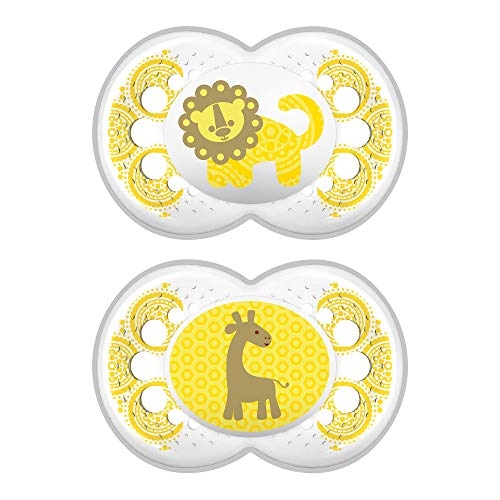 MAM Pacifiers, Baby Pacifier 6+ Months, Best Pacifier for Breastfed Babies, Clear Design Collection, Unisex, 2-Count