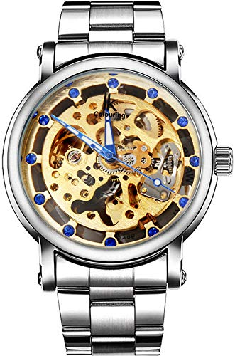 (Erbida Men's Silver Tone Auto Self Wind Stainless Steel Watch-Skeleton Dial Gold Tone Movement)