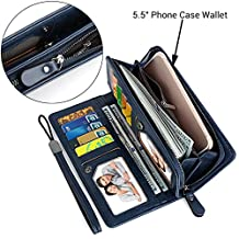 "UTO Women PU Leather Wristlet Wallet Large Capacity 5.5"" Zipper Phone Case Card Holder Organizer Purse"