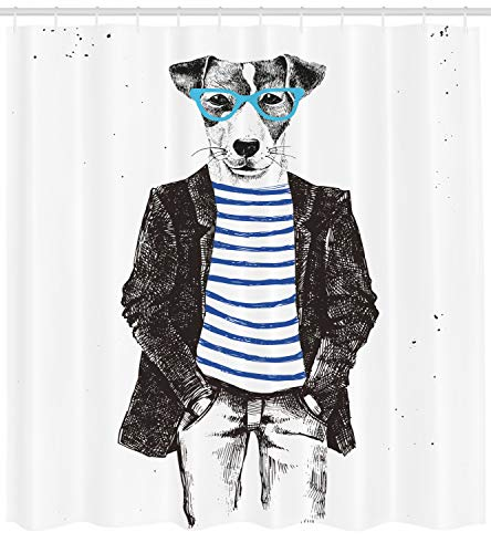 Ambesonne Quirky Shower Curtain by, Dressed Up Hipster Dog with Glasses Hand Drawn Sketchy Fashion Animal Fun, Fabric Bathroom Decor Set with Hooks, 84 Inches Extra Long, Black White - Curtain Hipster Shower