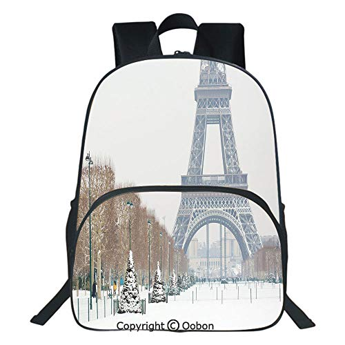 Oobon Kids Toddler School Waterproof 3D Cartoon Backpack, Eiffel Tower Covered in Snow Outdoors Champ de Mars Tourist Attraction Paris France Decorative, Fits 14 Inch Laptop