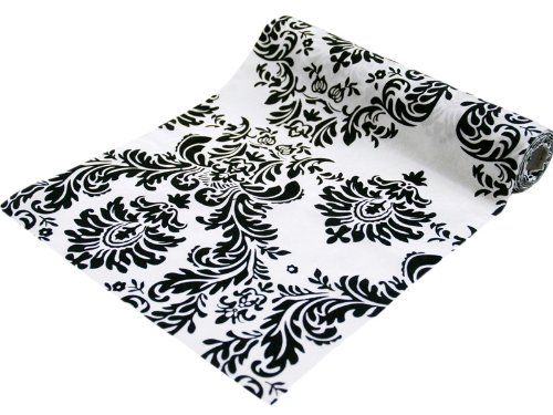 BalsaCircle 54-Inch wide x 10 yards Black on White Flocking Damask on Taffeta Fabric by the Bolt - Sewing Craft Wedding Party - Black Sale Custom Roll Runner