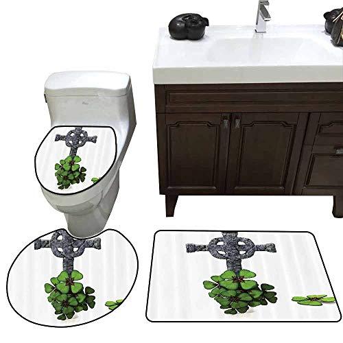 3 Piece Extended Bath mat Set Celtic Decor Collection Celtic Knot Pattern with Four Leaf Clover Decorative Floral Design Saint Patricks Day Elongated Toilet Lid Cover Set Grey Green