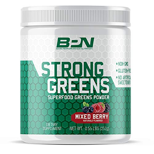 - Bare Performance Nutrition, Strong Greens Superfood Powder, Antioxidants, Non-GMO, Gluten Free and No Artificial Sweeteners, Wheat Grass, Coconut Water, Turmeric and Monk Fruit (Mixed Berry)