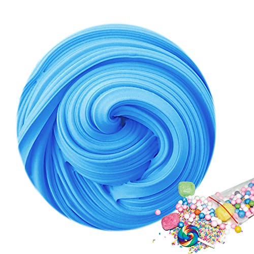 2019 Upgrade Version Fluffy Slime - Jumbo Fluffy Floam Slime Stress Relief Toys, Scented DIY Putty Sludge Toy for Kids and Adults, Super Soft and Non-Sticky (Blue)