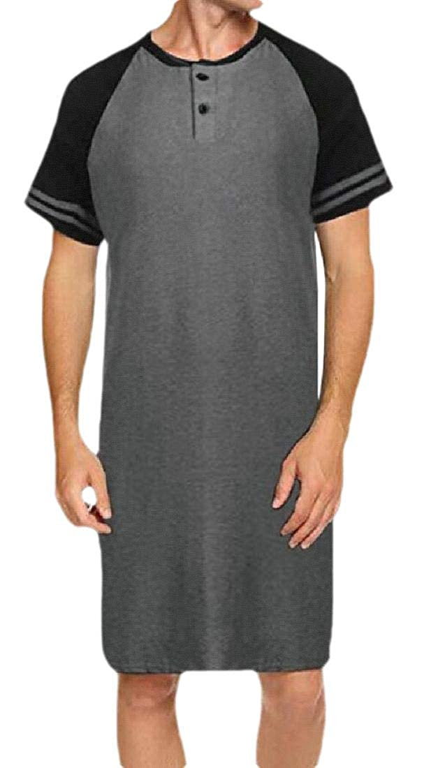 dahuo Men Cotton Sleep Shirt Nightshirts Short Sleeve Henley Shirt Lounge Sleepwear