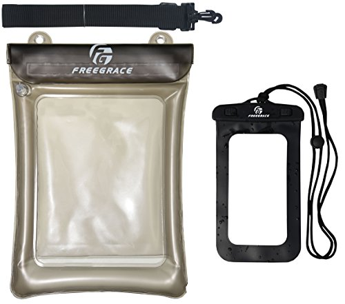 Freegrace Waterproof Float Pouch with Detachable Shoulder Strap and IPX8 Phone Case - Perfect for Boating Swimming Snorkeling Kayaking Beach Pool Water Parks (Gray)