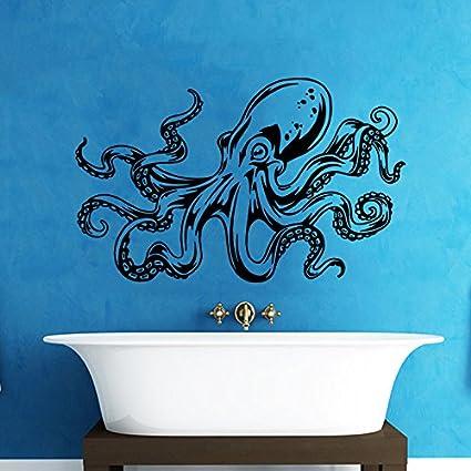 YINGKAI Octopus Wall Decal Tentacles Sprut Kraken Ocean Sea Animal Bathroom  Living Room Vinyl Carving Wall