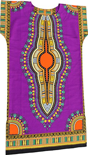 RaanPahMuang Brand Child Dashiki Colors Afrikan Full Kaftan Throw Over Outfit, 1-3 Years, ()