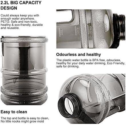 Contenedores de Agua para Acampar Botella de Agua Port/átil para Gimnasio//Viajes//Ejercicio//Deporte Negro RIC Botella Deportiva 2,2L Bid/ón de Agua sin BPA