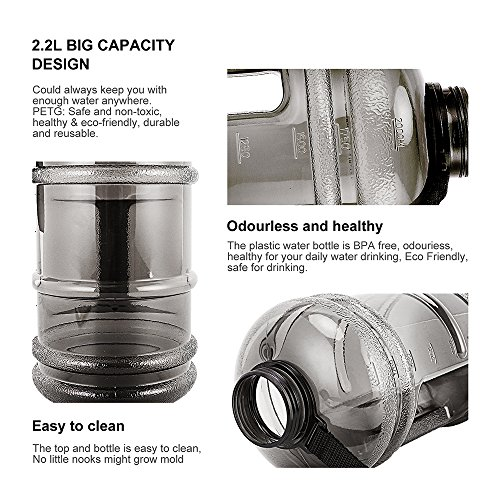 ENINE 2.2L Large Sport Water Bottle BPA Free Plastic Big Capacity Leakproof Water Jug Container with Carrying Loop Fitness for Camping Training Bicycle Hiking Gym Outdoor Sports (Black) by ENINE (Image #9)