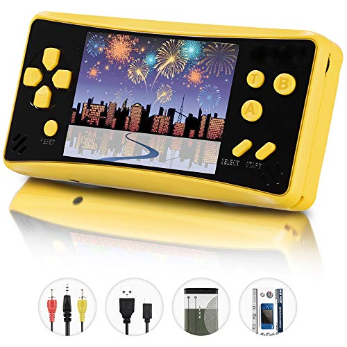 (X-JJFUN Handheld Game Console for Kids Adults, Portable Classic Game Consoles Built in 218 Games 3.5 Inch 1 USB Charge Retro Arcade Video Game Player, Birthday Gift for Children-Lemon Yellow)