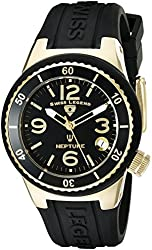 Swiss Legend Women's 11840P-YG-01 Neptune Black Dial Black Silicone Watch