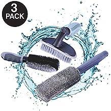 AutoEC Car Wheel Cleaning Brush Kit, 2 Tire Rim Scrub Brush Soft Alloy Brush Cleaner, 1 Premium Metal-Free Wheel & Rim Brush, Use for Auto Motorcycle Bike Wheel Cleaning