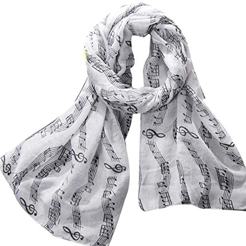 (Sothread Fashion Women Musical Note Printed Scarf Soft Long Voile Foulard Shawl Wrap (White).)