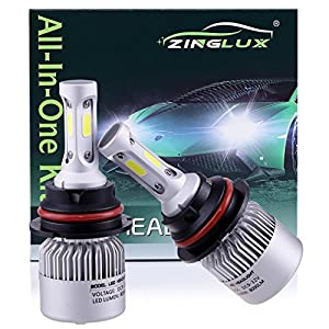 ZX2 9007 HB5 8000LM LED High Low Dual Beam Headlight Conversion Kit,High Low Beam in One Bulb,Replace Halogen Headlamp All-in-One Conversion Kits,COB Technology,6500K Xenon White, 1 Pair