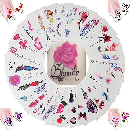 30 Sheet Women Body Art Temporary tattoos Stickers Kit, Flower Animal Butterfly Feather Fake False Tattoos for Arm Legs Back Kids 4 Sheet Nail Art Sticker Decal Decorations (AABB015F) ()