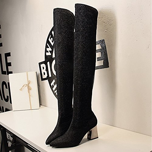 ZHZNVX Black Boots Boots Shoes Leatherette Women's Shoes Gray for Spring Grey Knee Sequin Fall Chunky Over HSXZ Pointed Comfort Dress Heel Toe Cycling The rqBT0r