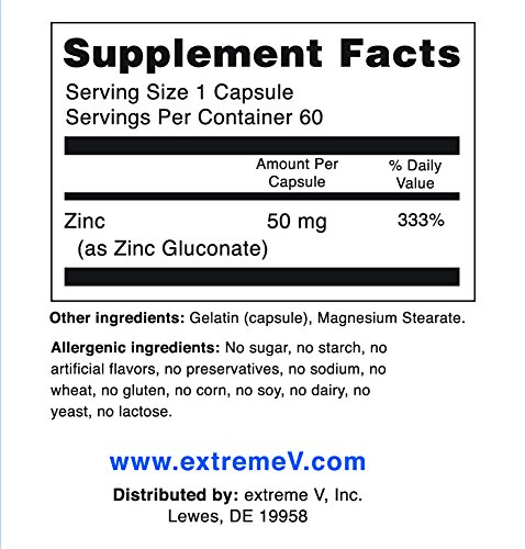 #1 Recommended OTC ZINC - Gluzin - Pharmaceutical Grade Zinc, 50 mg, 60 Capsules, Most Trusted Zinc by Wilson Disease Customers