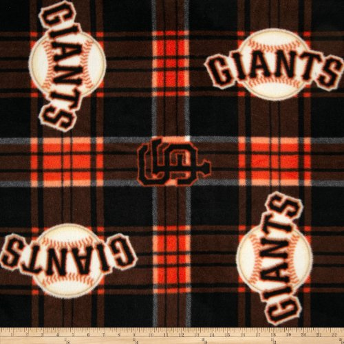 (Fabric Traditions MLB Fleece San Francisco Giants Plaid Fabric by The Yard Black/Orange)