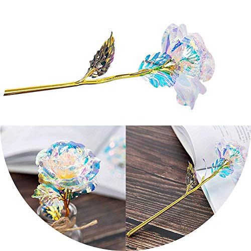 Li-Never 24K Gold Plated Galaxy Rose Artificial Fake Flowers Wedding Craft Mini Flowers Home Decoration