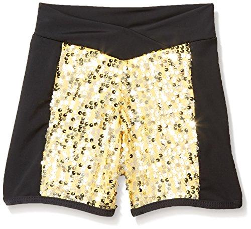 Gia Mia Dance Big Girls Sequin Blockshort, Gold, Large for $<!--$12.07-->