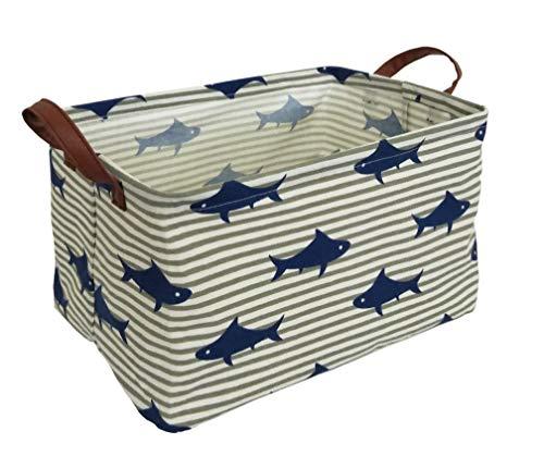 CLOCOR Rectangular Storage Basket,Collapsible Cute Pattern Storage Bin,Waterproof Coating Storage Box with Handles for Home Organization,Toy Organizer,Shelf Basket(Shark)