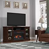 """TV Stand for TVs up to 65"""" with Infrared Quartz Fireplace (Espresso)"""