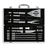 Flamen BBQ Tools Set 13-Piece Grill Tools set & 1 Aluminum Case Heavy Duty Stainless Steel Barbecue Premium Grilling Utensils Accessories for Barbecue - Spatula Tongs Fork and Basting Brush Skewer