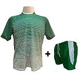 Uniforme Esportivo com 12 camisas modelo City Verde Branco + 12 calções  modelo Copa Verde 099a96490f4f9