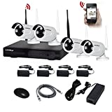 KAREye 720P 4CH NVR Kits Wireless IP Network Camera System Video Surveillance Kits with 4 of 720P Outdoor IR Bullet IP66 Camera,White