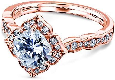 Kobelli 1 1/3 CTW Cushion Moissanite (F-G) Floral Halo Engagement Ring - Multiple Gold Options