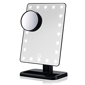 Hipiwe Dimmable Makeup Mirror with Light Led Illuminated Vanity Cosmetic  Mirror with Portable 10x Magnified Spot. Hipiwe Dimmable Makeup Mirror with Light Led Illuminated Vanity